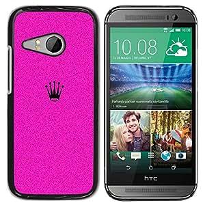 Caucho caso de Shell duro de la cubierta de accesorios de protección BY RAYDREAMMM - HTC ONE MINI 2 / M8 MINI - Crown Pink Grainy Minimalist Black