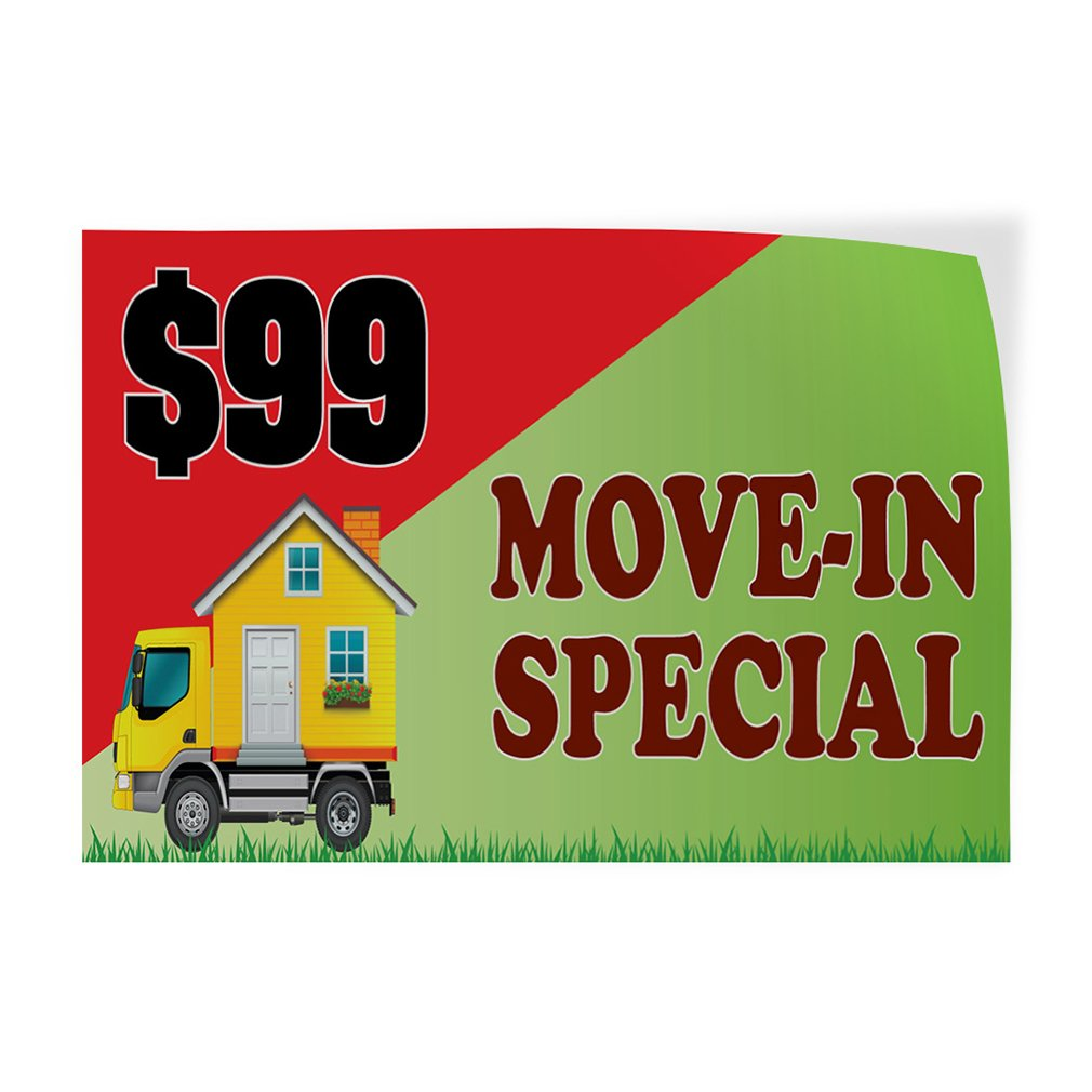 Amazon com decal sticker 99 move in special business autozone outdoor store sign green multiple sizes available 52inx34in one sticker office