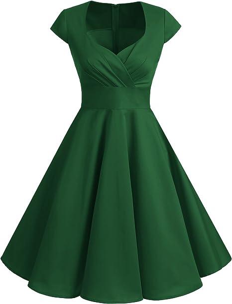 TALLA XS. Bbonlinedress Vestido Corto Mujer Retro Años 50 Vintage Escote En Pico Green XS