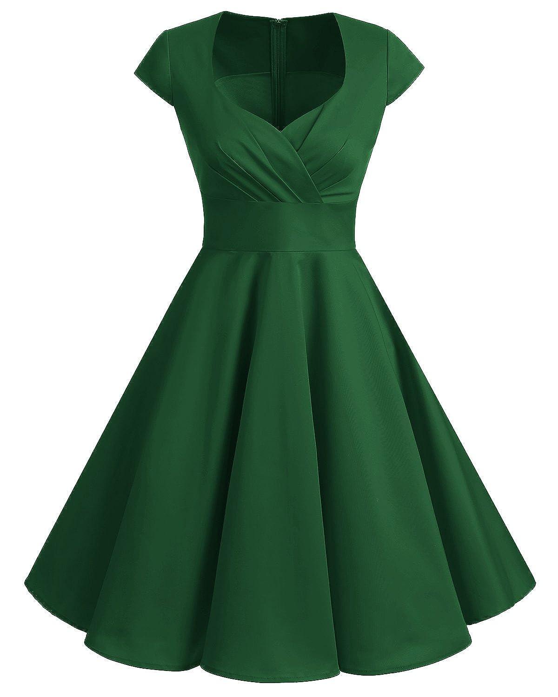 TALLA XXL. Bbonlinedress Vestido Corto Mujer Retro Años 50 Vintage Escote En Pico Green XXL