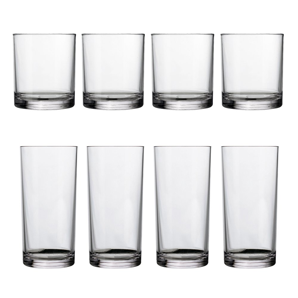 8-Piece Classic SAN Clear Plastic Tumblers | four 14-ounce and four 16-ounce