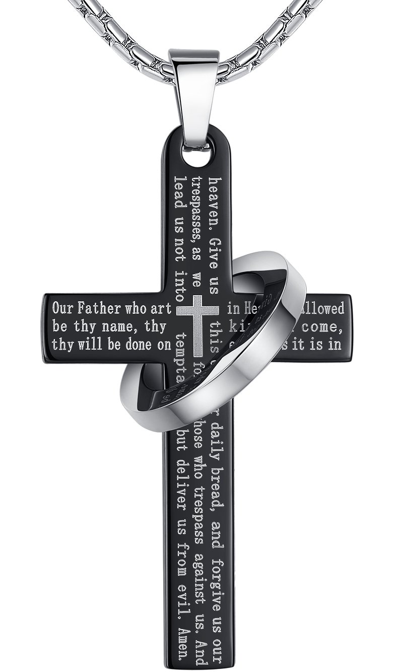 Men's Stainless Steel Lord's Prayer Cross Halo Pendant Necklace, Black Color, 23'' Chain, ddp010he by Aoiy (Image #1)