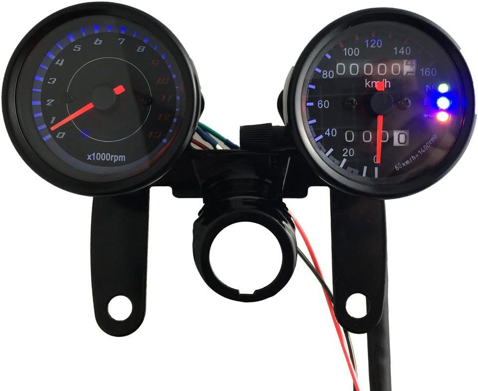 KKmoon 12V Motocicleta Tacómetro 13000 RPM , Velocímetro Km / h, Medidor de Odómetro Doble con Luces de Señal de Retroiluminación LED