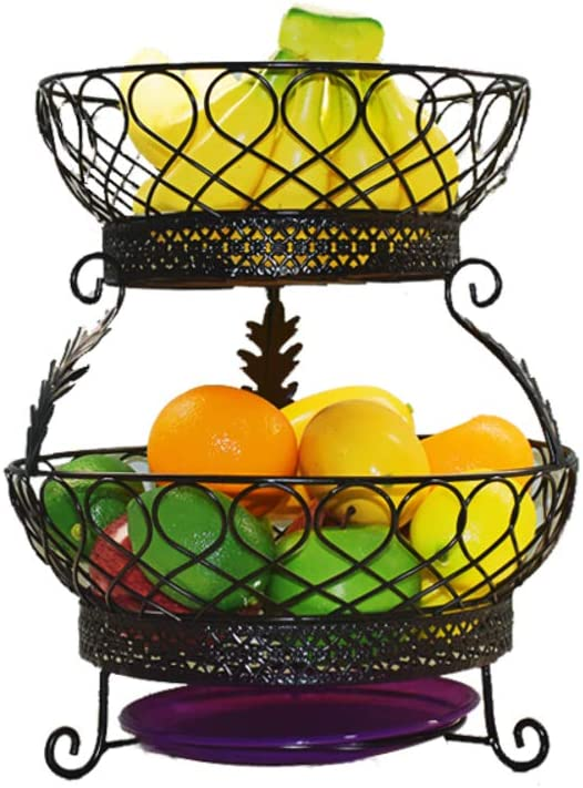 PLLXY 2 Tiers Stand Fruit Plate,metal Wire Vegetable Fruit Basket Tower Decorative Fruit Dish Countertop Stand Kitchen-gold