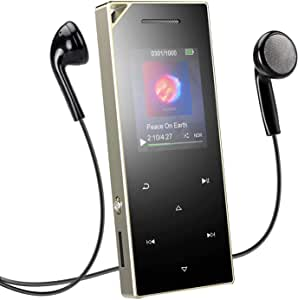 16GB MP3 Player Bluetooth 4.0 with Speaker, AGPTEK A05ST Metal Touch Button Music Player for Sports, FM Radio, Voice Recorder & 128GB,Silver