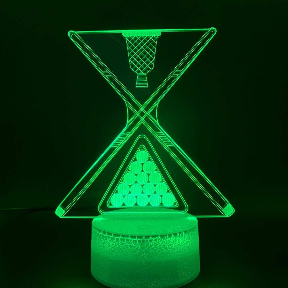 HNXDP Snooker Billar Ocho Nueve Bolas Ilusión 3d Luz de noche Led ...