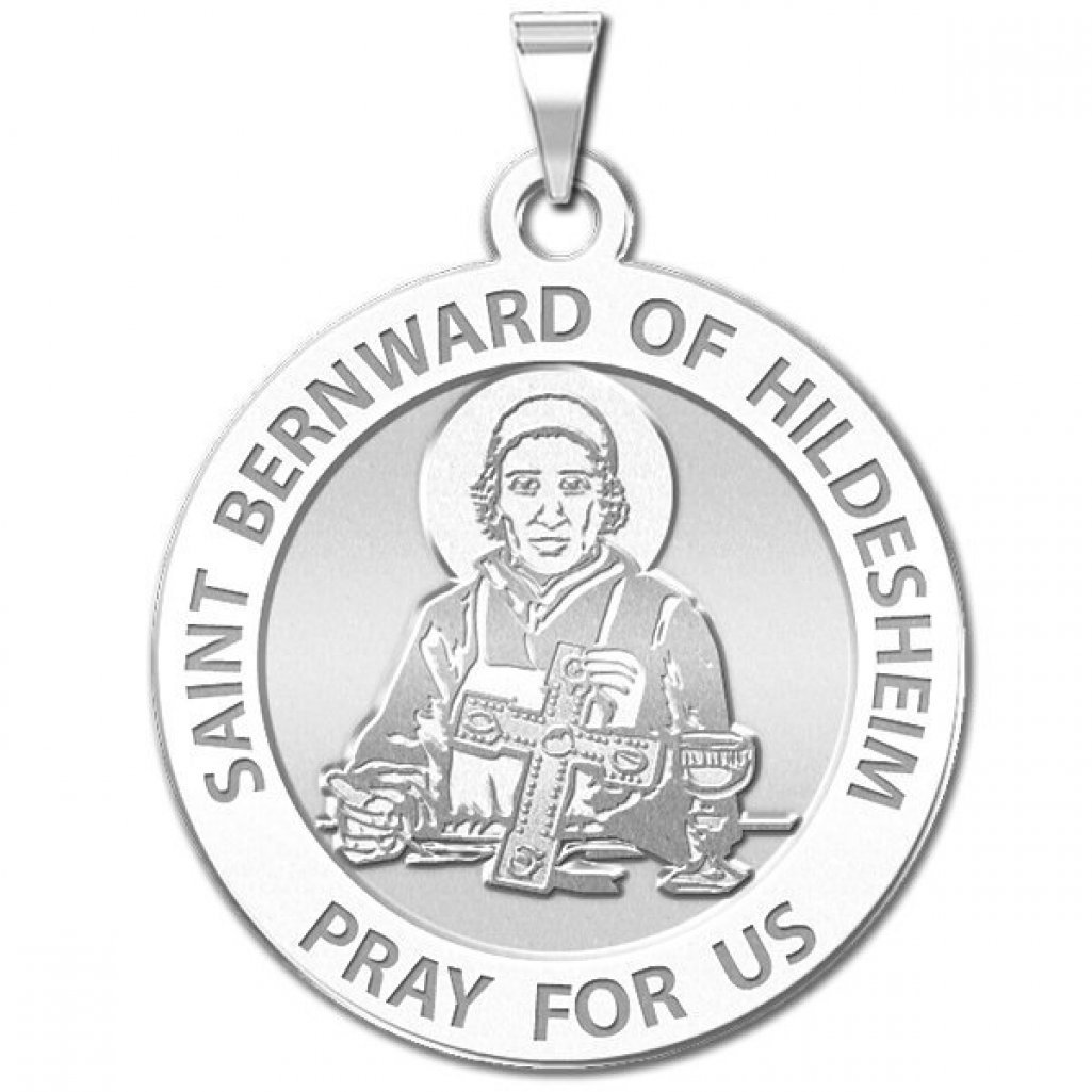 Solid 14K Yellow Gold PicturesOnGold.com Saint Bernward of Hildesheim Round Religious Medal 1 Inch Size of a Quarter