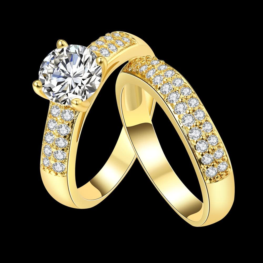 Star Jewelry 18K Gold-Plated Popular Personality Cubic Zirconia Generous Double Ring