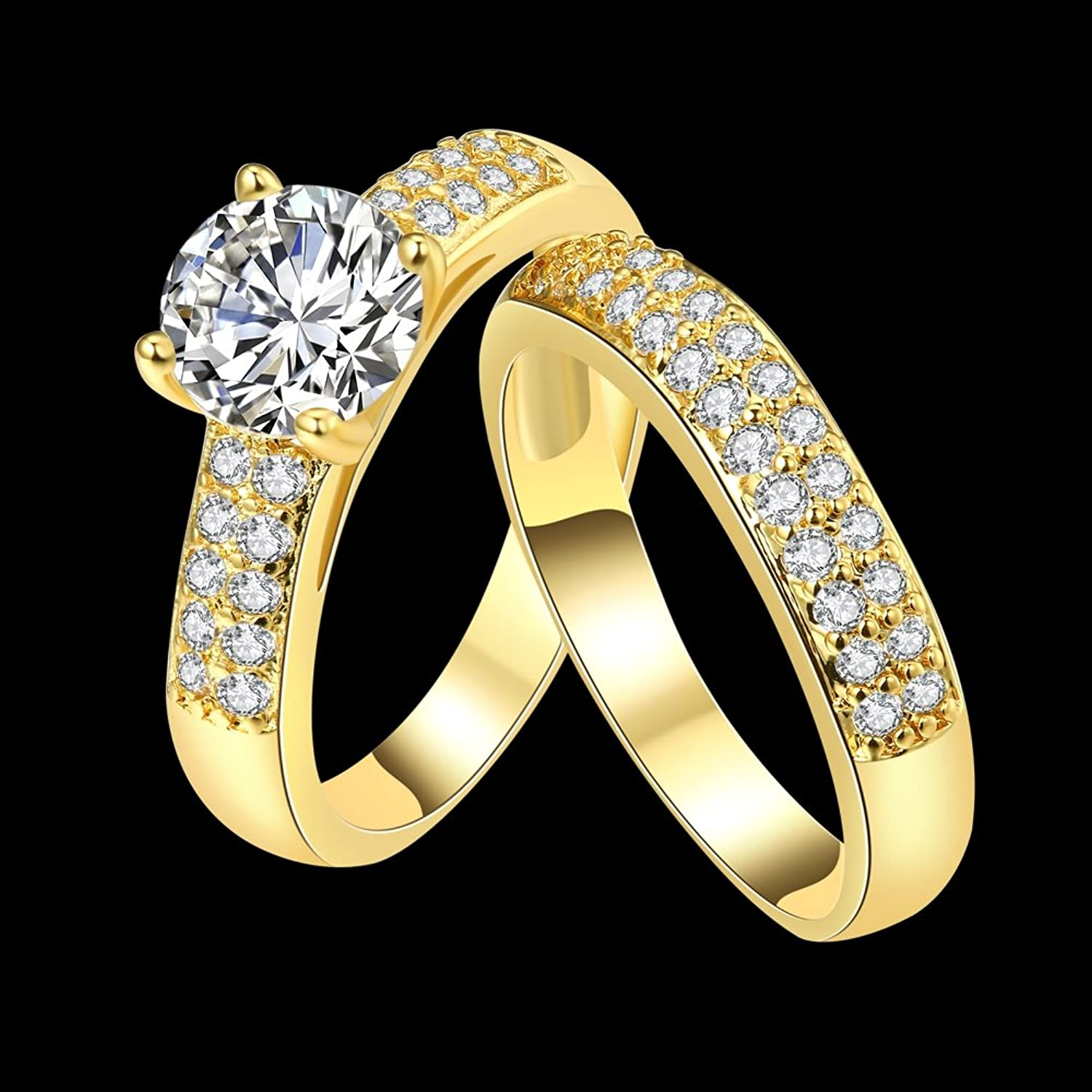 Yellow Chimes Gold Metal & Crystal Couple Rings For Girls And Boys ...