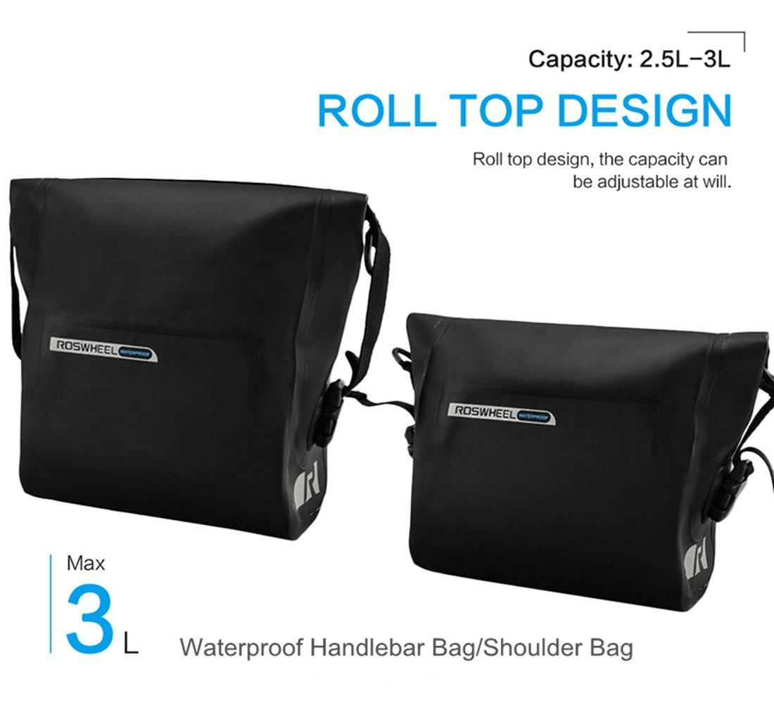 allnice Bike Handlebar Bag Waterproof 3L Mountain Road MTB Bike Cycling Bicycle Top Tube Handlebar Bag Front Frame PVC Bag Roll Top Design Front Pannier Basket Bag by allnice (Image #2)