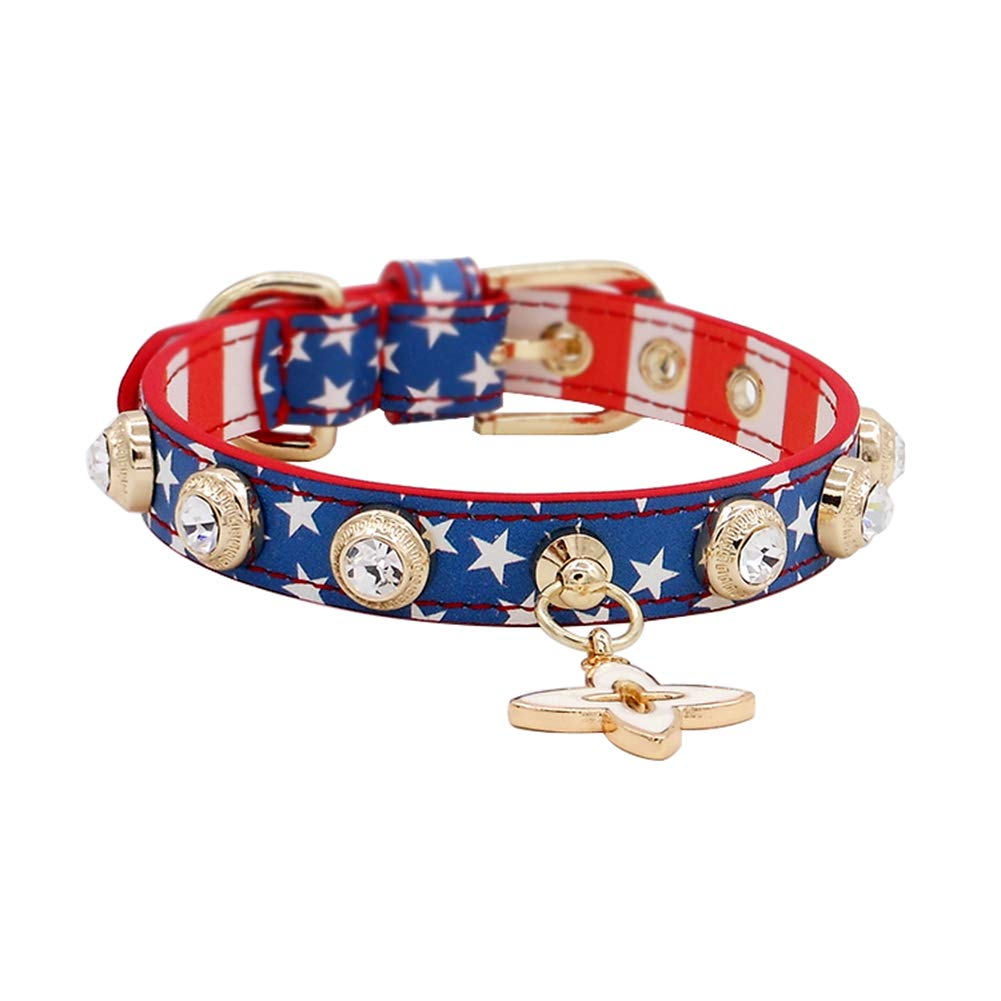 XS ZH Coloful Cat Dog Collar with Safety Quick Release Buckle and Bling Crystal,British style,Stylish and Personality bluee Neck 7.9  17.3  (Size   XS)