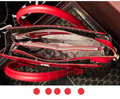 Bolso de mano multicolor de las mujeres del cuero de la vaca para las muchachas Bolso de la decoración de cadena del metal de las muchachas para las mujeres (Marrón con rosa A) Rosa B