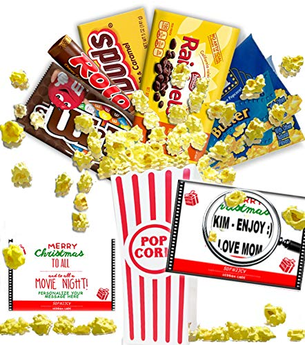 Personalized Merry Christmas Movie Night Gift Basket ~ Includes Butter Popcorn, Concession Stand Candy and 2 Customized Gift Cards for Free Redbox Movie Rentals with Personalized Message (Chocolate) ()