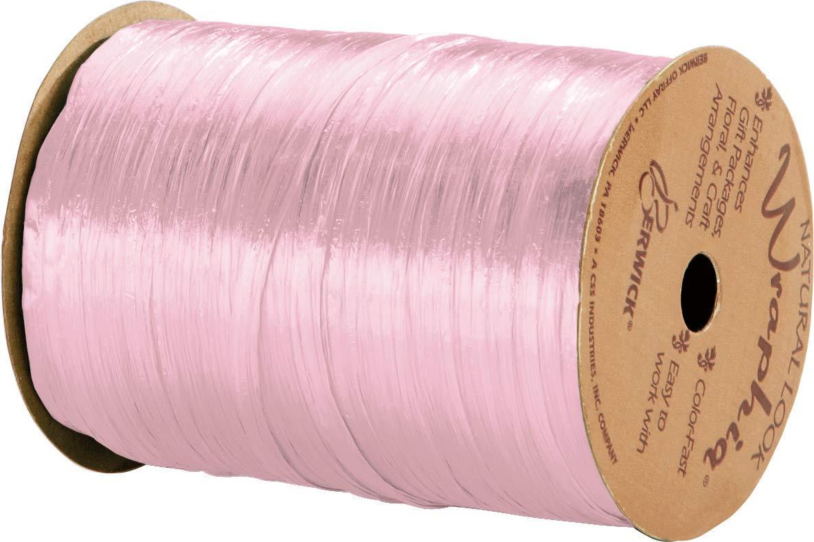 Pearlized Pink Wraphia Ribbon 1//4 x 100 Yards