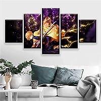 Home Decor Poster 5 Piece HD Cartoon Swordsman Animation Boy Picture Demon Slayer Comics Art Wall Decoration Paintings…