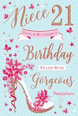 Special Niece 21st Birthday Card Pink High Heel Shoe Flitter