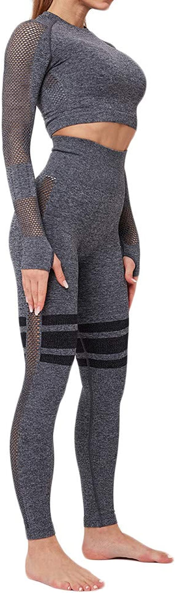 Trainingsanzug Damen Kapuzenpullover Bauchfrei Langarm Crop Top Hose Sportanzug