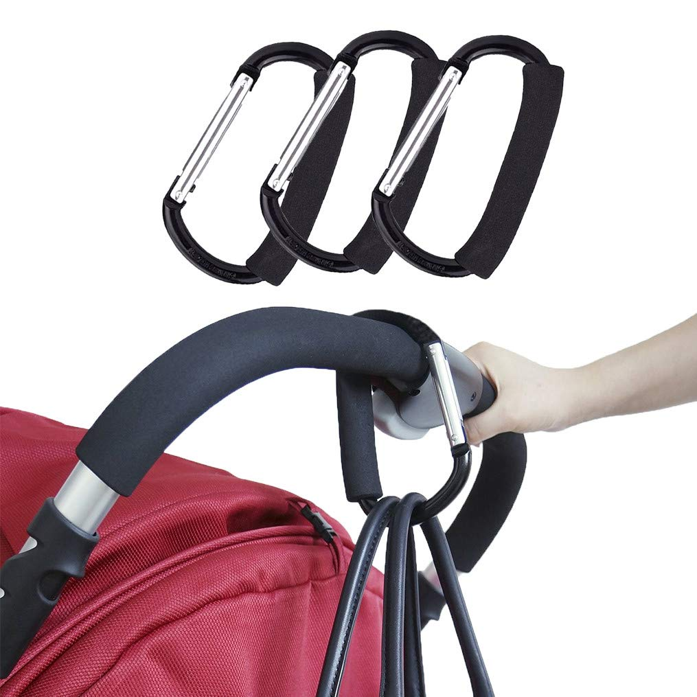 GYDING Stroller Hook, Large Handy Grocery Bag Clip Holder Handle Travel Organizer Accessory for Mommy Baby Hanging Purses Diaper Shopping Bags When Jogging Walking or Shopping (Black, 3 Pack) by GYDING