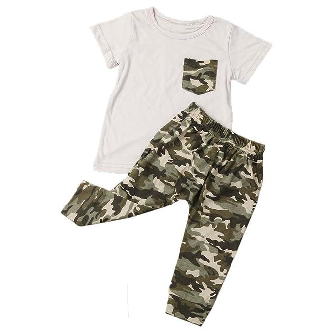 ropa bebé,Switchali Recién nacido Infantil Bebé Niño Verano Camisetas Tops Pantalones de camuflaje Conjuntos