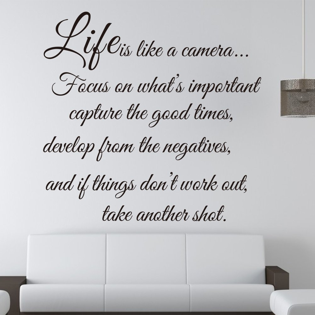Life Is Like A Camera   Wall Decal Quote Wall Saying Wall Vinyl Stickers By  Himanjie: Amazon.co.uk: DIY U0026 Tools Part 27
