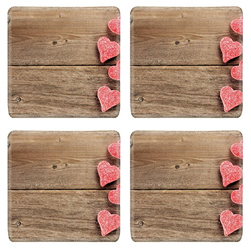 - MSD Square Coasters Non-Slip Natural Rubber Desk Coasters design: 35086397 Heart Shaped Valentines Day candy side border on a wooden background
