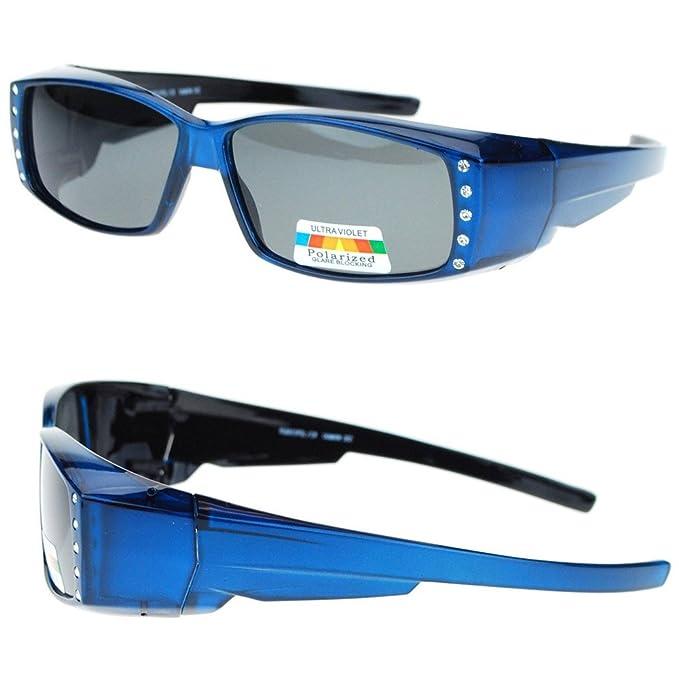 667741fd125f Amazon.com: Womens Rhinestone Rectangular Polarized Fit Over Glasses OTG  Sunglasses Driving: Office Products