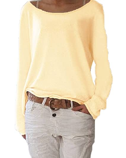 Camisetas Mujer Elegante Clásico Especial Cuello Redondo Manga Larga Blusas Tops Color Sólido Sencillos Anchos Casual Moda Primavera Otoño T Shirt Fino: ...