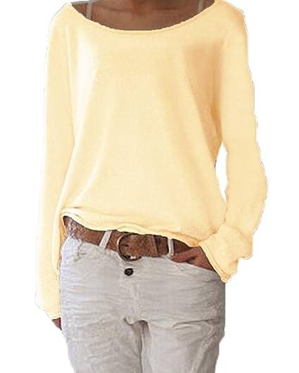 Camisetas Mujer Elegante Clásico Especial Cuello Redondo Manga Larga Blusas Tops Color Sólido Sencillos Anchos Casual