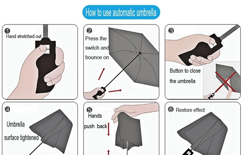 Auto Umbrella Folding Upscale Business Creative Three Switch Bounce Produced On Press Fold Windproof Travel Compact Portable Anti Uv 8 Shares Automatic Open Close