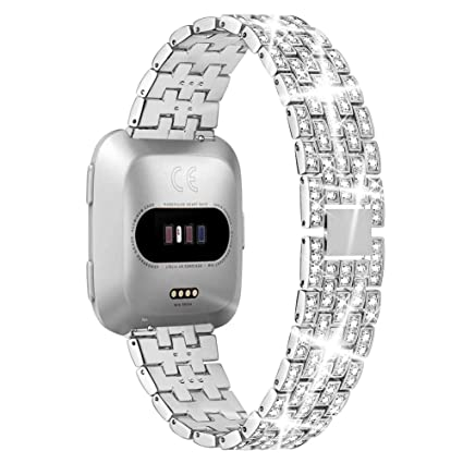 Supoix Bands Compatible for Fitbit Versa Band, Bling Stainless Steel Replacement Wristband Accessories Strap with Rhinestones for Women-Silver
