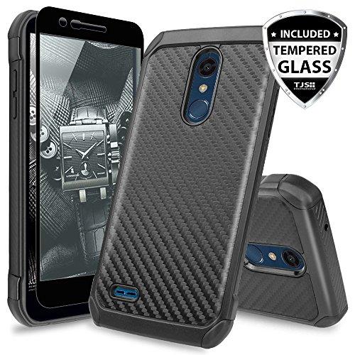 TJS LG K10 2018/K30/Premier Pro LTE/Harmony 2/Phoenix Plus Case, with [Tempered Glass Screen Protector] Dual Layer Hybrid Shock Absorbing Case Carbon Fiber Back TPU Inner Layer (Black)
