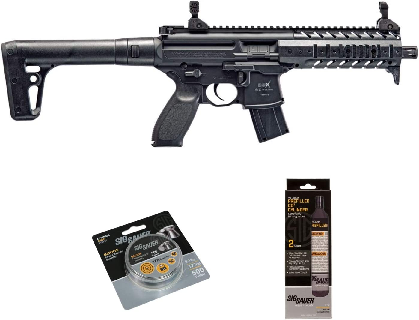 SIG Sauer MPX .177 Cal CO2 Powered Air Rifle with CO2 90 Gram 2 Pack and 500 Lead Pellets Bundle