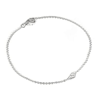 EVER FAITH® 925 Sterling Silver CZ Angel Wing Feather Adjustable Chain Bracelet N06633-1 uj2Zz