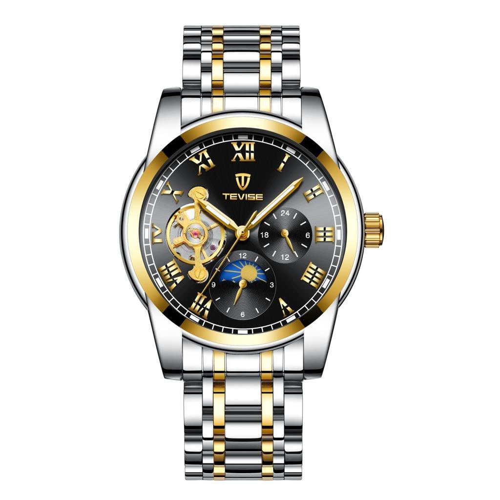 Baoblaze Reloj de Pulsera Accesorio de Deportes Al Aire Libre Impermeable Regalo de Hombres Elegante - Oro Negro