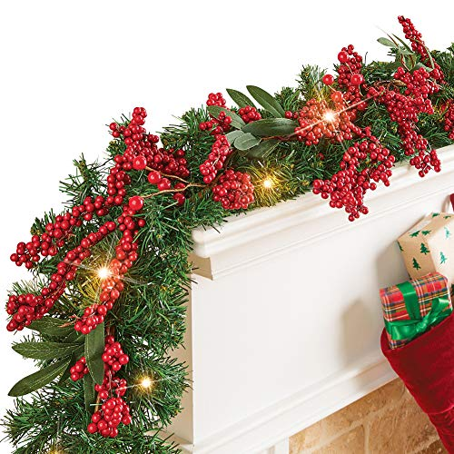 Collections Etc Red Berry Seasonal Garland with LED Lights and Greenery Accents - Holiday Home Decor (Winston Garland)