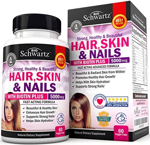 Hair Skin and Nails Vitamin with Biotin 5000. Promotes Hair Growth Glowing Skin Strong Nails. Natural & Non-GMO. Good as Phytoceramides 350 mg Anti-Aging Skin Care. Made in USA Money Back Guarantee