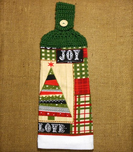 Woodland Dish Towel - Christmas Tree Hanging Dish Towel Double Sided With A Crochet Top, Holiday Kitchen Decor