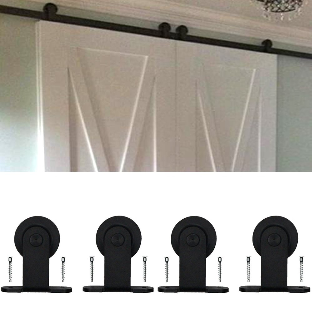 WINSOON Ship from USA Double Modern Barn Door Hardware Sliding Style Top Mount Roller Track Closet Kit System (10FT)
