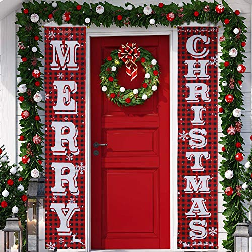 KERIQI Christmas Decorations Outdoor Merry Christmas Porch Sign, Buffalo Plaid Christmas Banner for Front Door Indoor Porch Home Wall Hanging Decor (Indoor Porch Decorating)