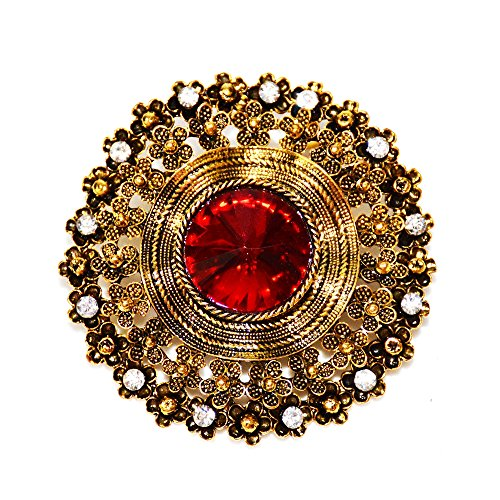 DREAMLANDSALES Edwardian Jewelry Filigree Circlet Flowers Round Red Crystal Stone Brooches Gold Tone