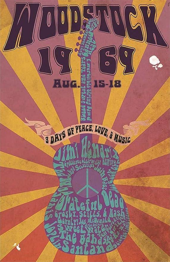 MiMiTee Woodstock Guitar Cartel de Pared de Chapa Carteles ...