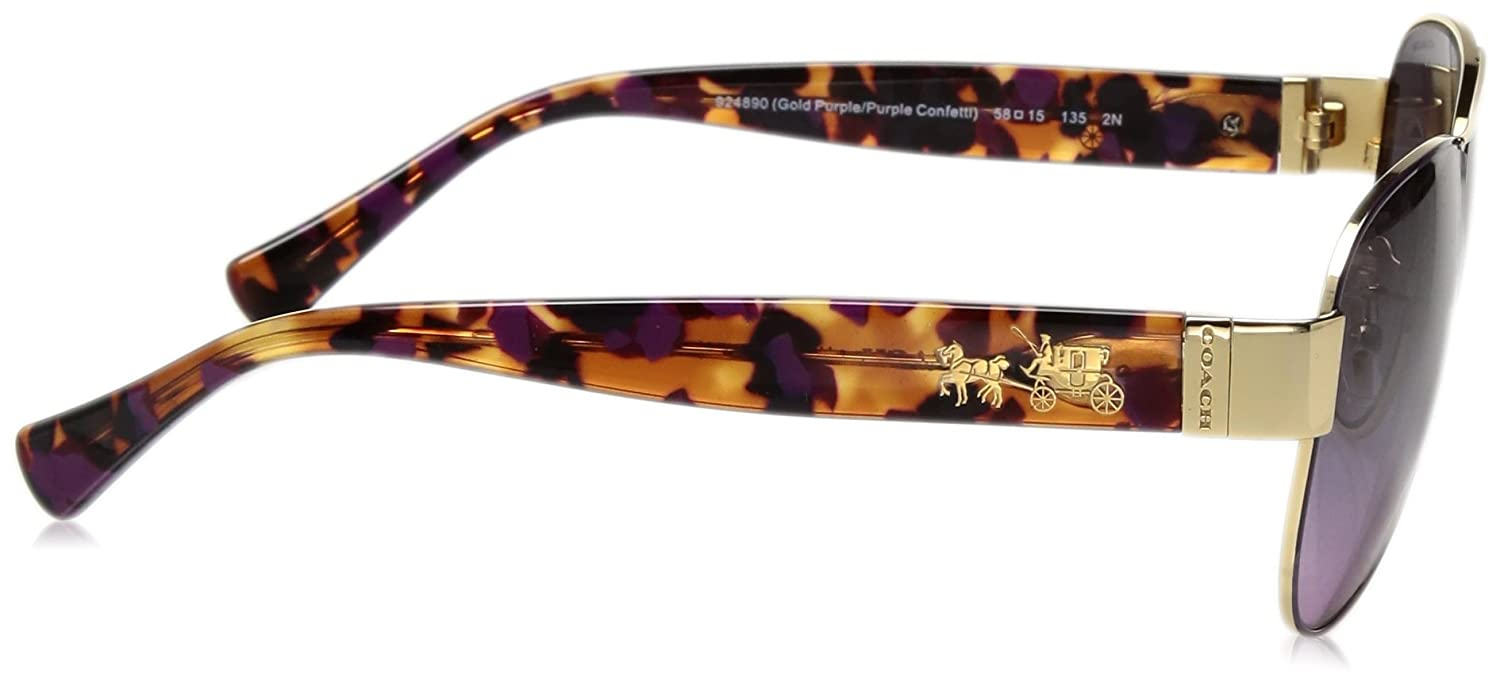 44b66412652e Coach HC 7059 Sunglasses 924890 Gold Purple/Purple Confetti 58-15-135:  Amazon.co.uk: Shoes & Bags