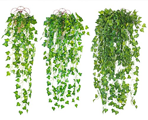 12 Pack (Each 82 inch) Artificial Greenery Fake Hanging Vine Plants Leaf Grape Leaves Garland Hanging for Wedding Party Garden Outdoor Greenery Office Wall - Mall Vine Grape
