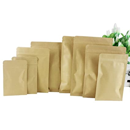 50PCS (5.5Mil) Kraft Paper Flat Base Hermetic Bag-- Zipper Pouches Packaging Bag Aluminum Foil Bag Coffee Pouches for Tea Nut and Candy Dried Fruits ...