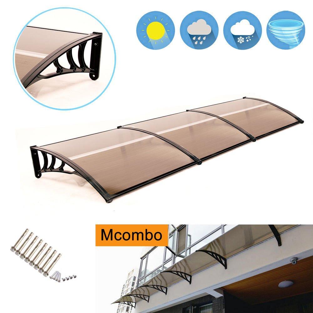 MCombo 39''×116''/39''x 78'' Window Overhead Door Awning Patio Outdoor Polycarbonate Cover Front Door Rain Sun Shetter Garden Canopy Hollow Sheet (40''x120'', Dark Brown Canopy/Black Bracket) by MCombo (Image #1)
