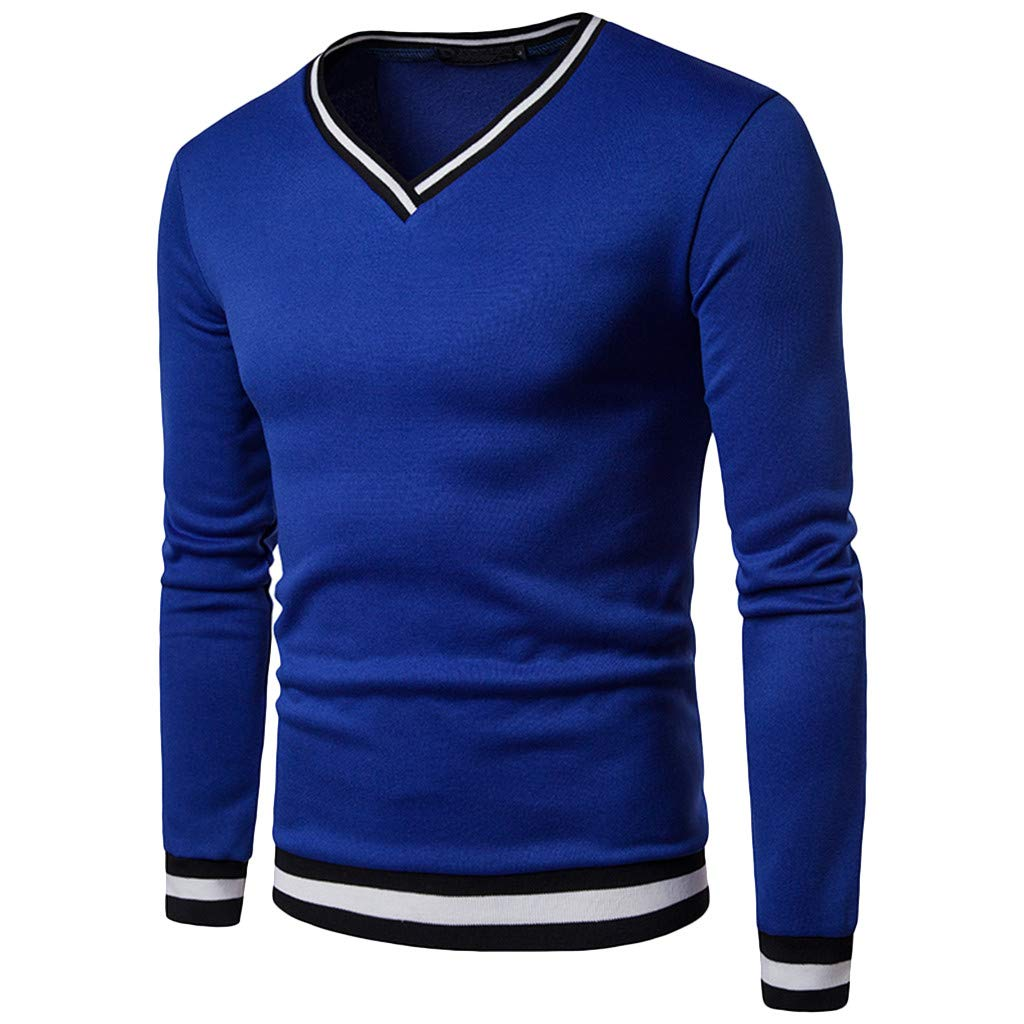 GREFER Men's Long Sleeve Top Silm Casual V Neck Patchwork Blouse T Shirt Blue
