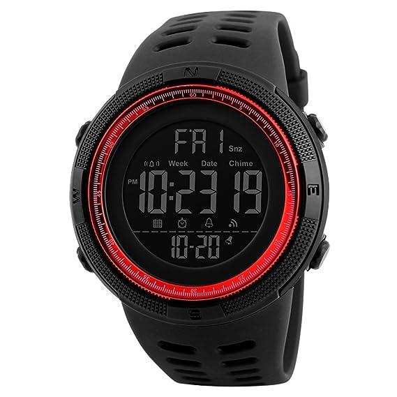 Digital Reloj Deportivo,Redondo Grande Militar Al Aire Libre Reloj para Hombres Resistente Al Agua