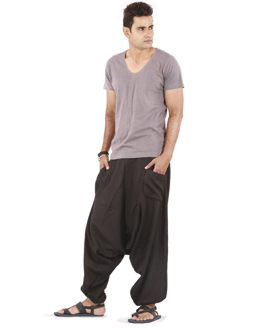 Mens Linen Pants - Drop Pockets Style (Black)