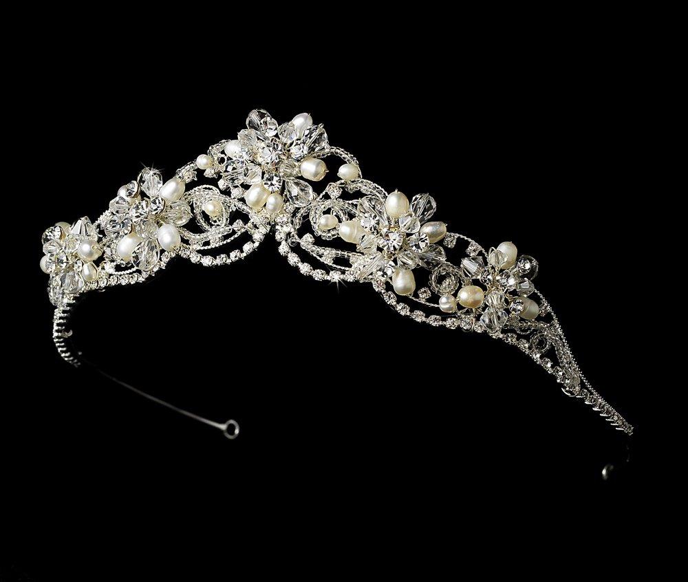 Silver Floral Swarovski Crystal Rhinestone Bridal Wedding Prom Tiara Headband
