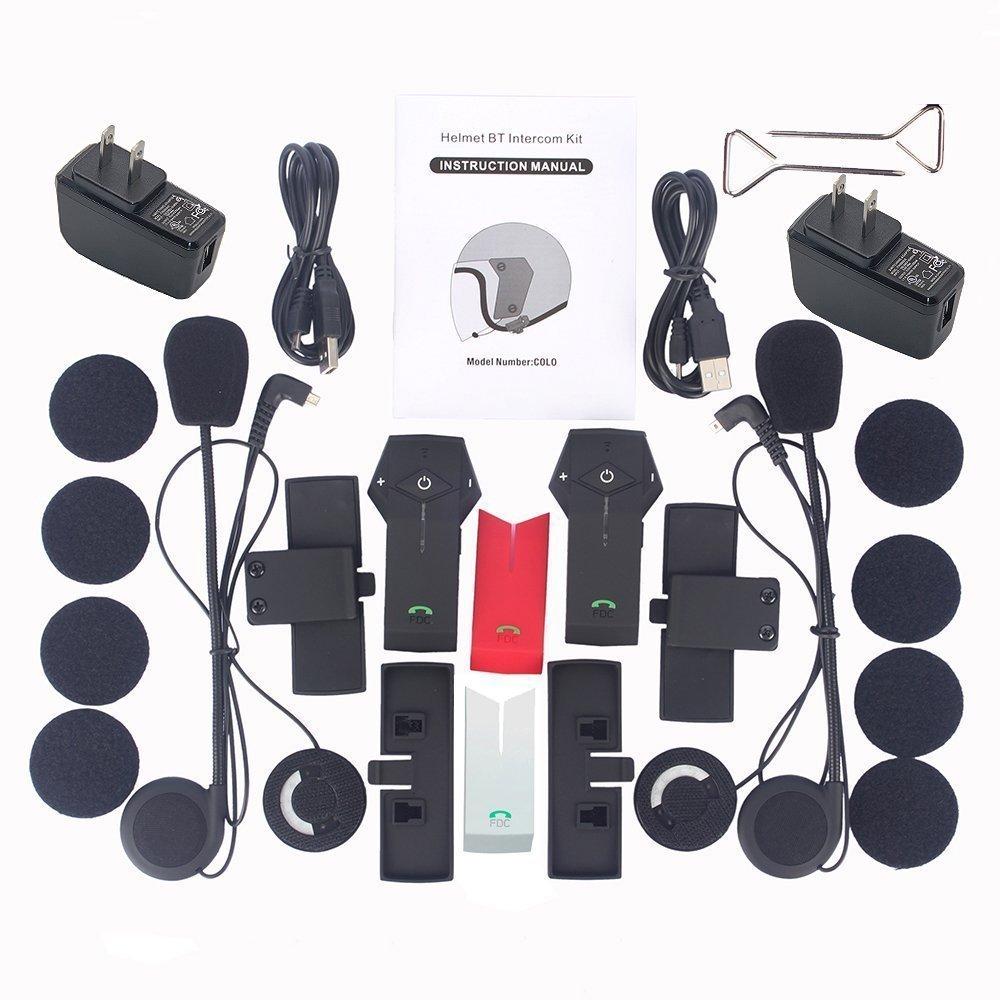 Freedconn moto casco colo sistemi di comunicazione Bluetooth Headset interfono per moto sciare NFC//vivavoce//range-1000 m//2 /– 3RIDERS Pairing//nero /& rosso /& argento Shell//2 pezzi